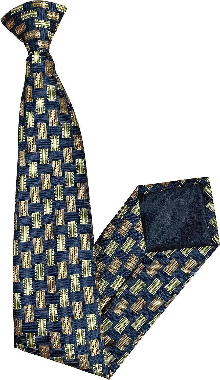 Orange /& Yellow Rectangle Design Clip On Tie Navy