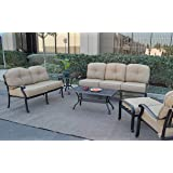 Elizabeth Outdoor Patio 6 pc Set Seating Group Cast Aluminum (Antique Bronze with Sunbrella Sesame cushions)