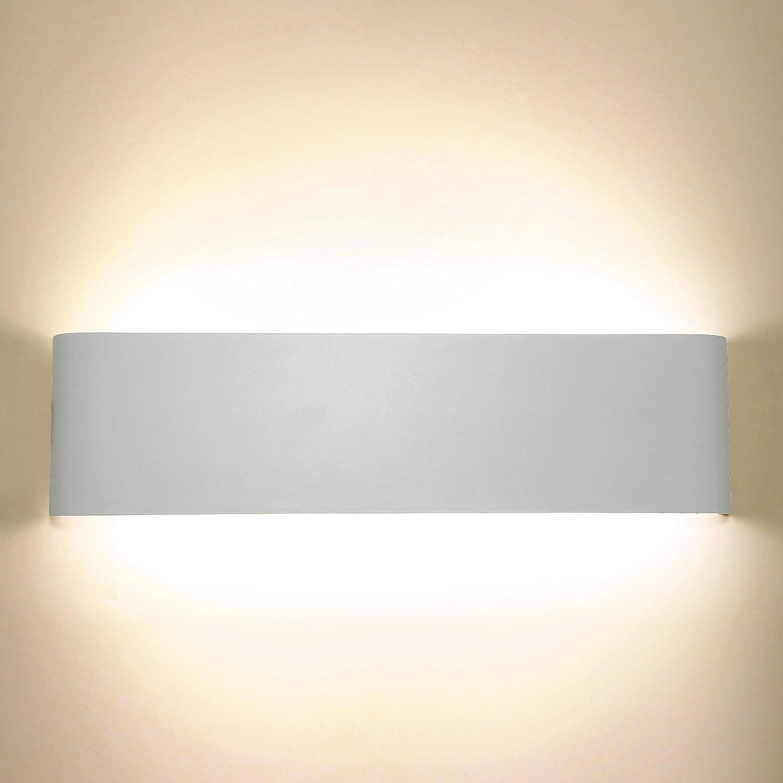 Lightess Applique Murale LED 10W Int/érieur Moderne Up Down en Aluminium D/ésign Rectangulaire Eclairage D/écoration Lumi/ère pour Chambre Bureau Couloir Salon H/ôtel Restaurant Bar Blanc Chaud