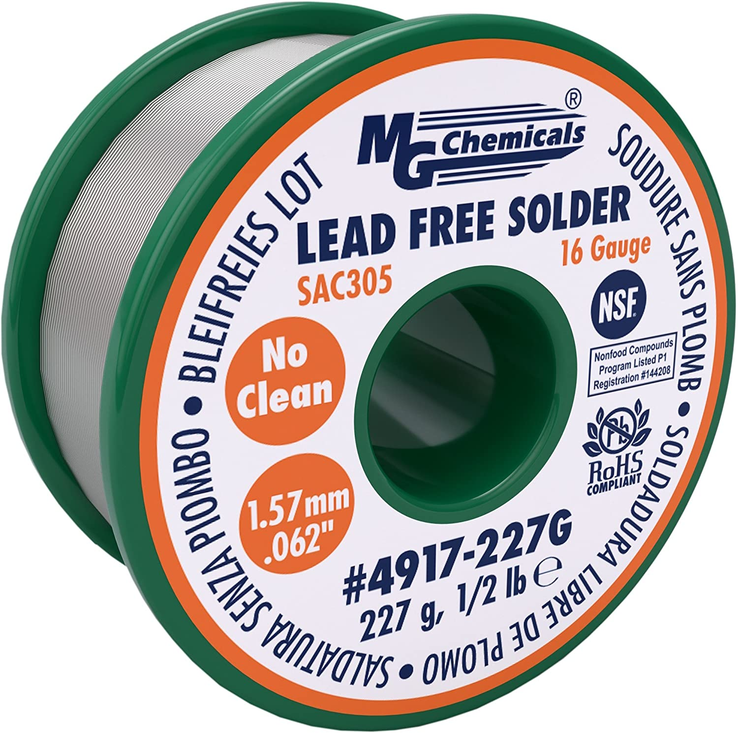 MG Chemicals SAC305, 96.3% Tin, 0.7% Copper, 3% Silver, Unleaded Solder, No Clean, 1.57mm, 0.06