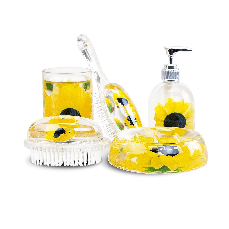 Amazon.com: Russ Berrie 5-piece Domestic Diva Sunflower Bathroom Set ...