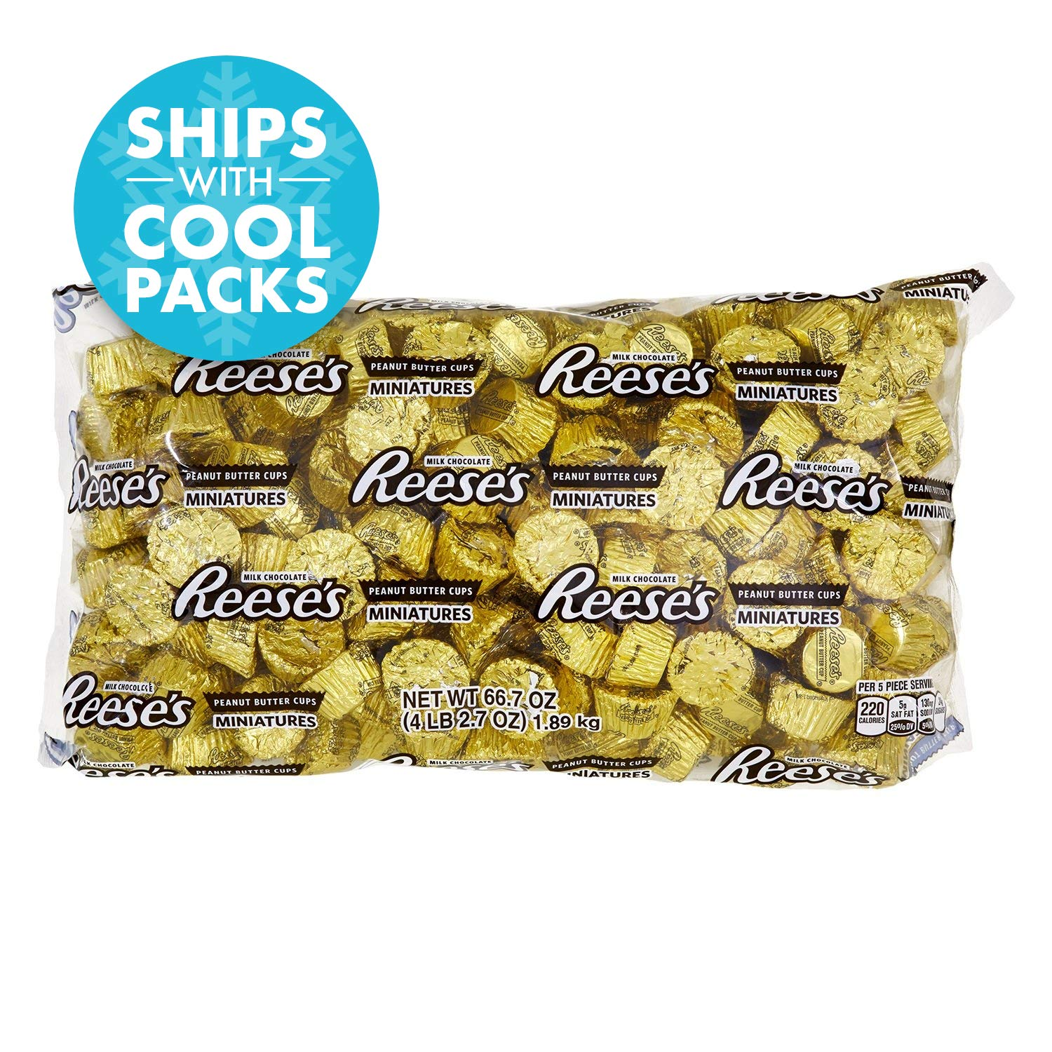 REESE'S Peanut Butter Cup Miniatures, Gold Chocolate Candy, 66.7 Ounce Bulk Bag (About 205 Pieces)