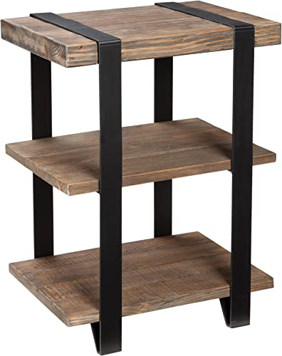 Stowe Reclaimed Wood and Metal 20″ W End Table
