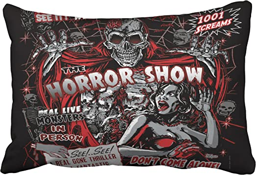 Emvency Decorative Throw Pillow Cover Queen Size 20x30 Inches Horror Movie Monster Spookhow Pillowcase With Hidden Zipper Decor Fashion Cushion Gift For Home Sofa Bedroom Couch Car Home Kitchen