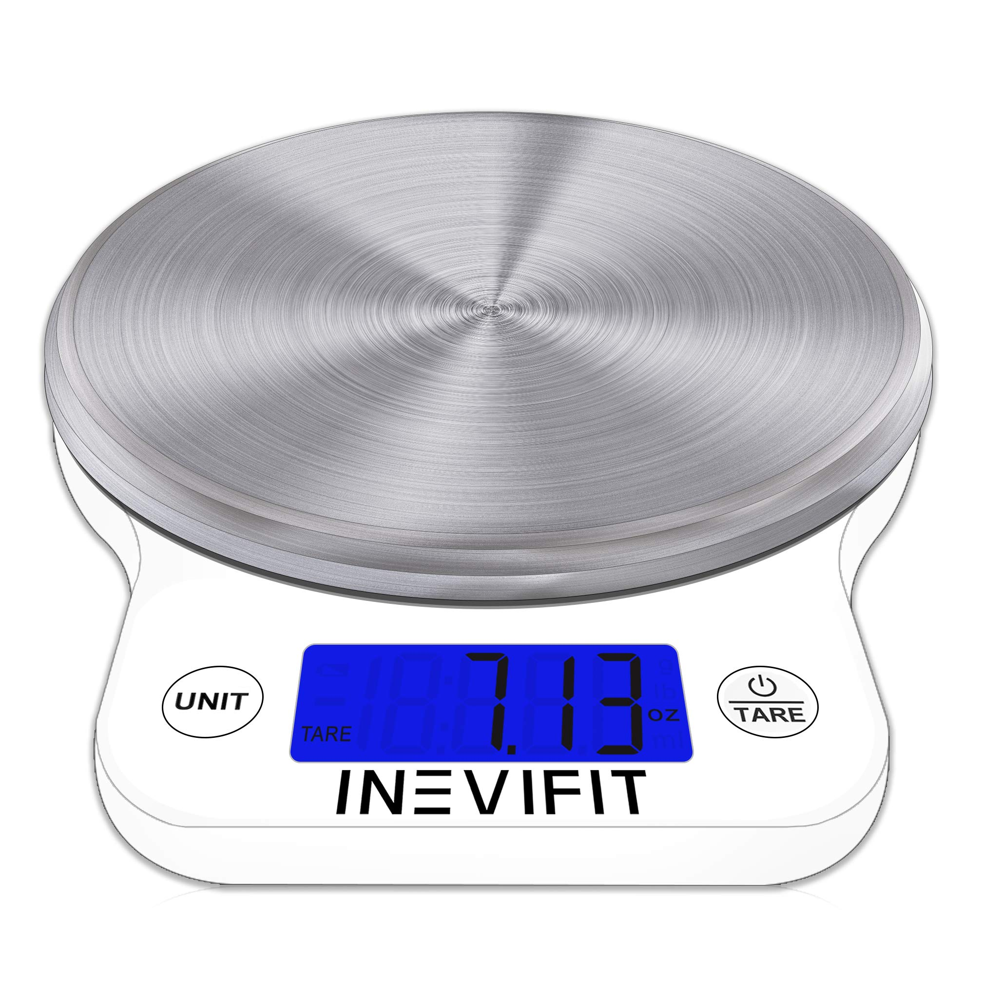 INEVIFIT DIGITAL KITCHEN SCALE, Highly Accurate Multifunction Food Scale 13 lbs 6kgs Max, Clean Modern White with Premium Stainless Steel Finish. Includes Batteries & 5-Year Warranty by INEVIFIT