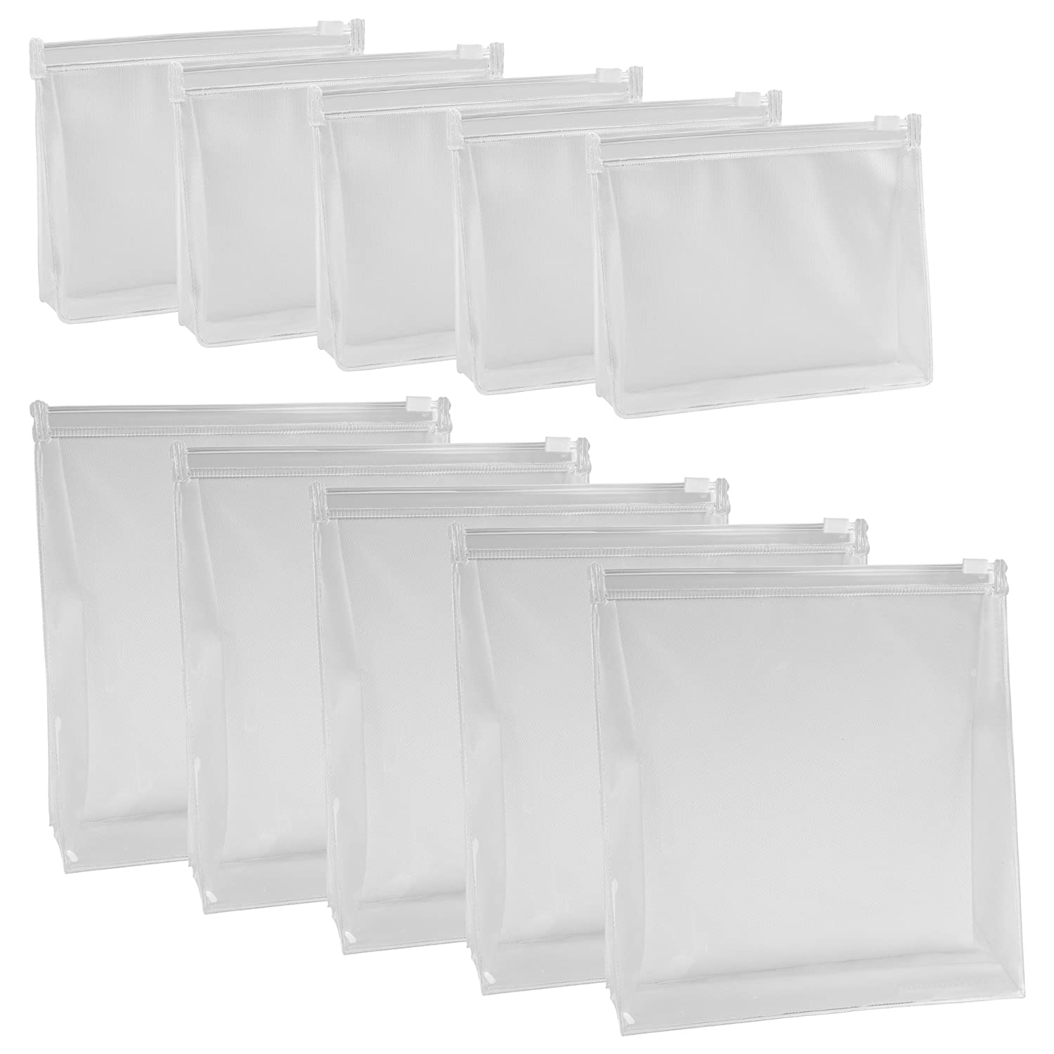 BCP 10 PCS Small Large PVC Transparent Plastic Cosmetic Organizer Bag Pouch With Zipper Closure,Travel Toiletry Makeup Bag 6 x 4.5 Inch,7 x 7.5 Inch