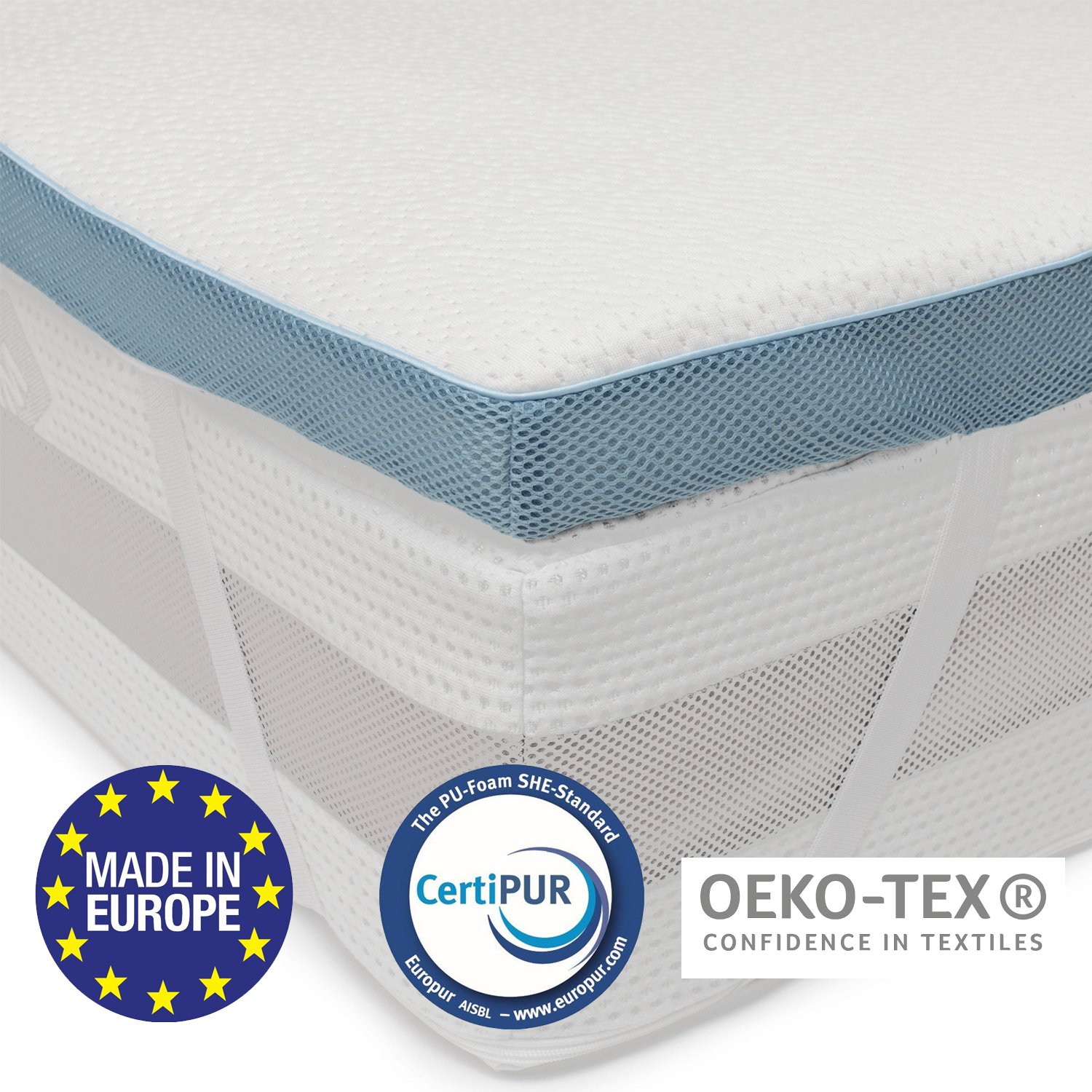 ⭐Orthopaedic Memory Foam Mattress Topper 90 x 190 cm (Single), 5cm (2 inch) - Chemical-Free and Made in Europe Memory Foam Mattress Toppers - Non-slip Material, 4 Elastics, Bamboo Cover with Zip BMS International
