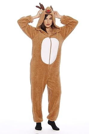 Reindeer Holiday Hooded One-piece Pajamas