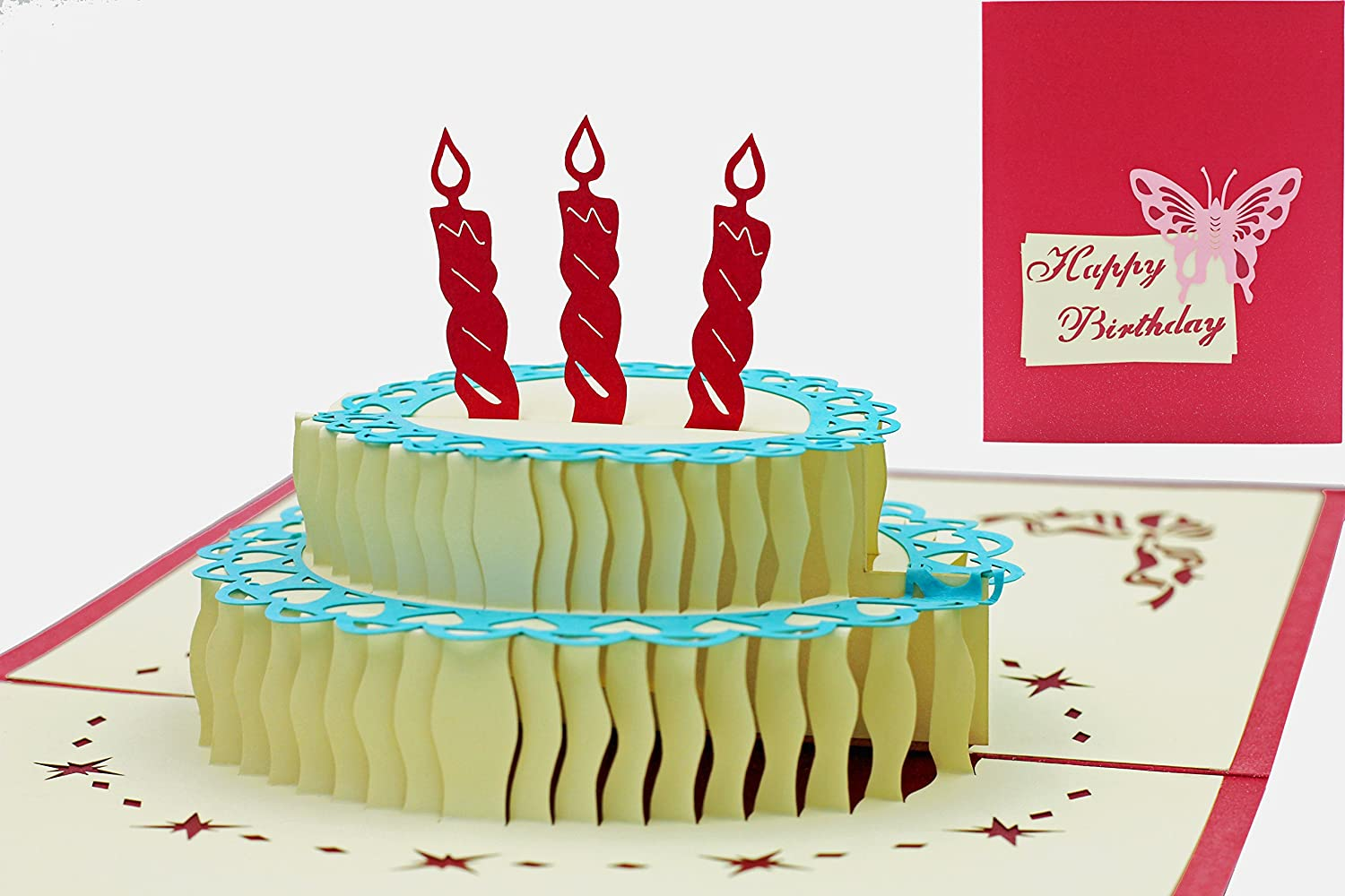 Thorani 3D Pop Up Greeting Card Buon Compleanno / Happy Birthday - Torta di Compleanno con Candele FRESPA GmbH