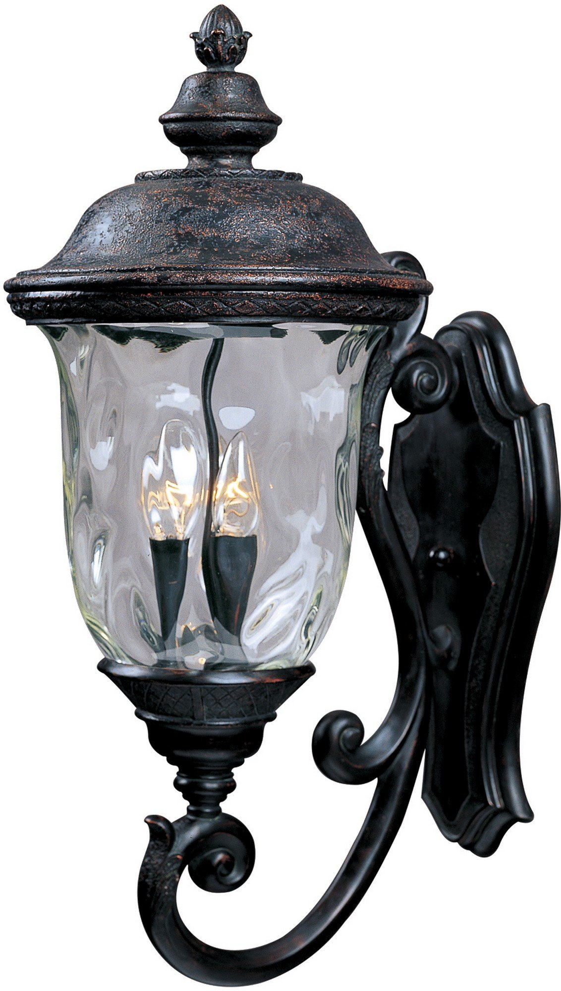 Maxim Lighting 3424WGOB Carriage House DC 3-Light Bottom Mount Outdoor 26.5-Inch Wall Lantern, Oriental Bronze Finish