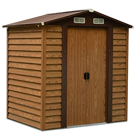 Outsunny - Herramienta de Almacenamiento para cobertizo de jardín de Acero, para Exteriores, Puerta