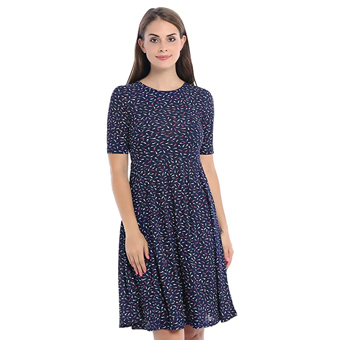 ad8a36f6 Prefe Women's Summer Dress Half Sleeve Scoop Neck Casual Printed Knee Long  Dress at Amazon Women's Clothing store: