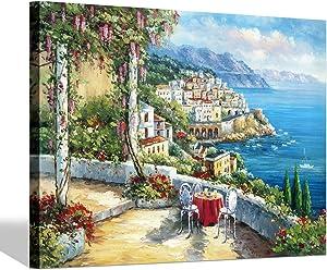 SD SOFT DANCE European Town Canvas Wall Art - Coastal Flower Garden Artwork Painting Reproduction Print for Office (24'' x 36'' x 1 Panel)