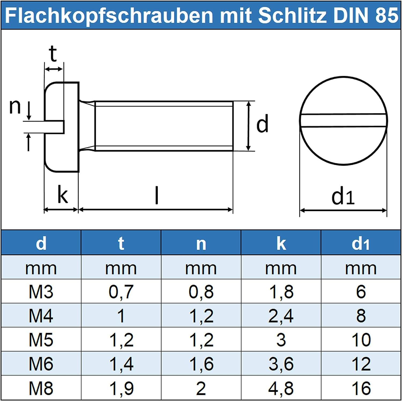 1 St/ück Flachkopfschraube M4 X 8 mit Schlitz DIN 85 Edelstahl A2