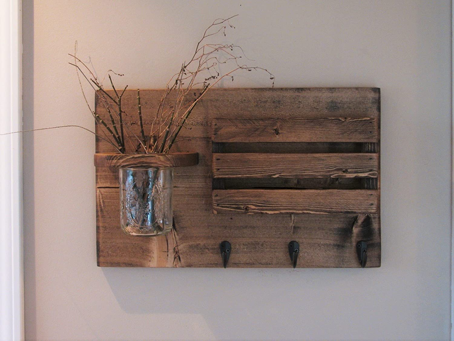Mail Holder and Jar, Mail Organizer, Rustic Organizer, Key Holder, Personalization Option Available