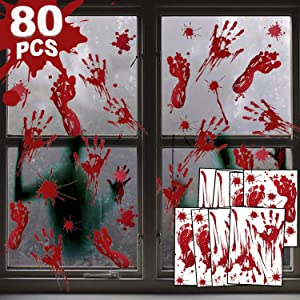 80 Pcs Window Decoration Stickers, Scary Bloody Handprint Footprint Stickers Horror Decoration Supplies Zombie Party Decorations Wall Window Decals