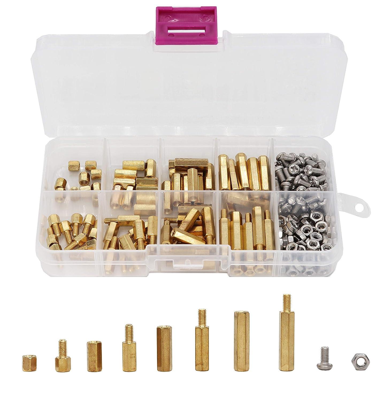 binifiMux 200Pcs M3 Hex Brass Spacer Standoff Srcrews Nuts Assortment Kit, Male Female, Machine Screws Nuts