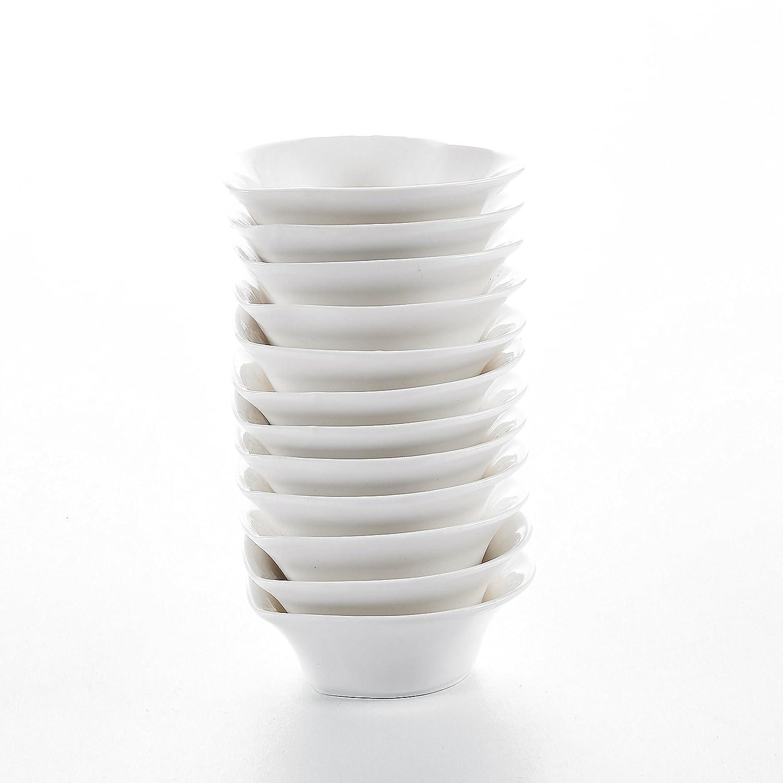 Malacasa 12 pi/èces Ramequin Bol /à Sauce Tapas Coupelle /à Dessert 10*9.5*3cm Porcelaine Blanc Ivoire