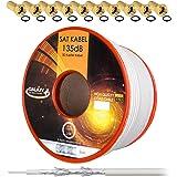 HB Digital 135dB 25m Koaxial SAT Kabel Reines KU Kupfer Koax Kabel Antennenkabel 5-fach geschirmt für DVB-S / S2 DVB-C und DVB-T BK Anlagen + 10 vergoldete F-Stecker mit Gummiring SET Gratis dazu