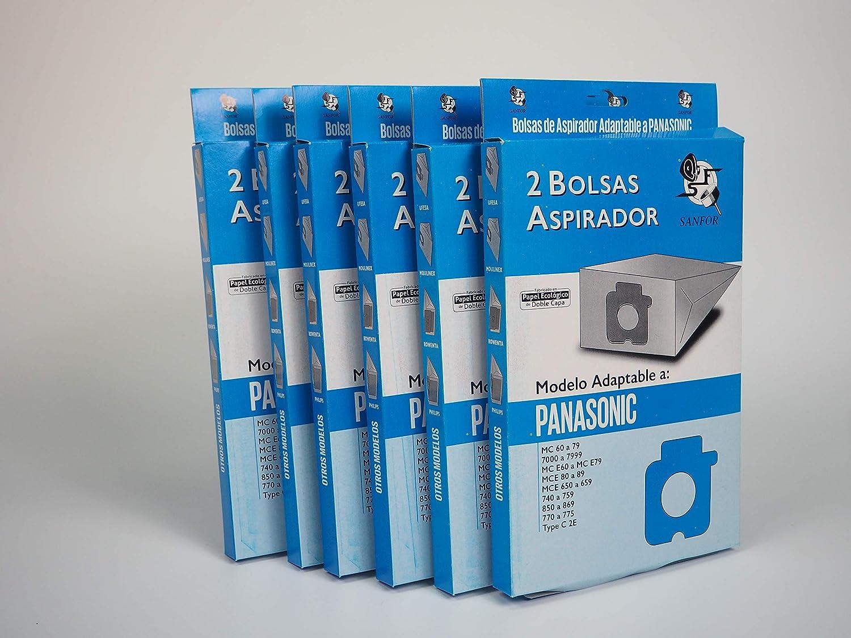 Sanfor 71142 Paquete con 6 cajas de 2 Bolsas de aspirador PANASONIC Na-71, Papel, MARRÓN