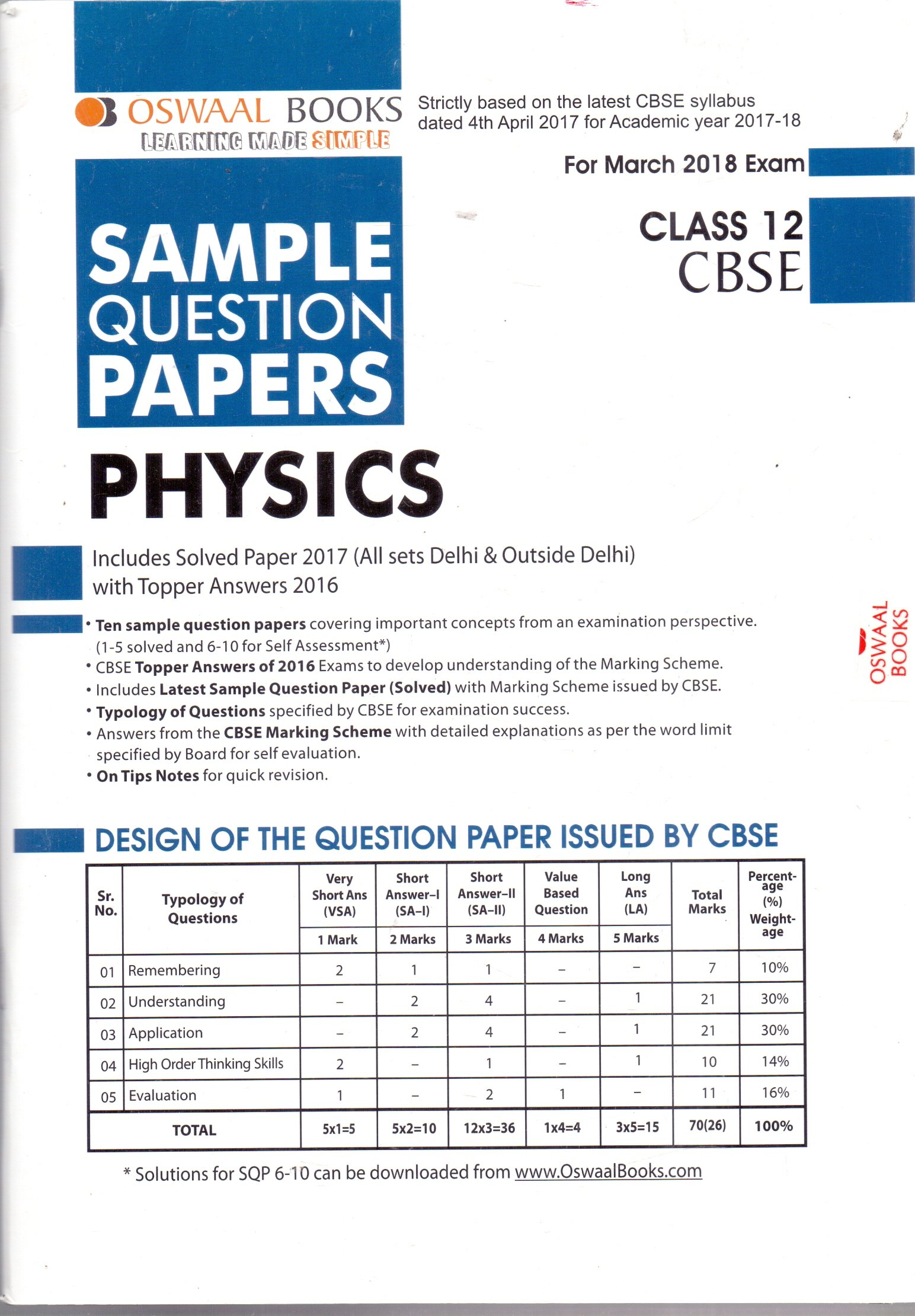 Oswaal cbse sample question papers for class 12 biology mar2018 oswaal cbse sample question papers for class 12 physics mar2018 exam malvernweather Choice Image