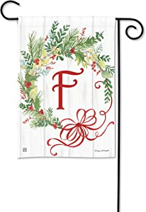 BreezeArt Studio M Winterberry Monogram F Garden Flag - Premium Quality, 12.5 x 18 Inches