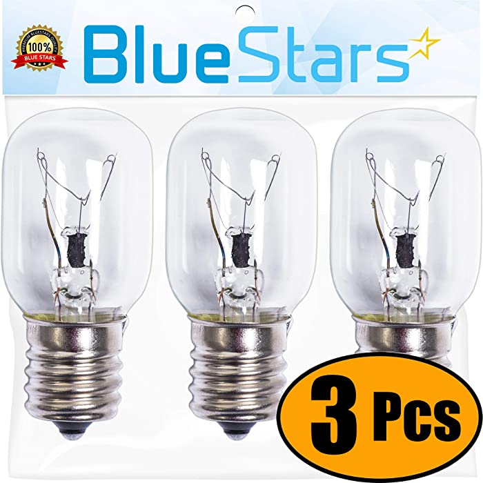 Ultra Durable 8206232A Microwave Light Bulb Replacement Part by Blue Stars - Exact Fit for Whirlpool Maytag Microwave - Replaces 8206232A 1890433 8206232 AP4512653 - Pack of 3