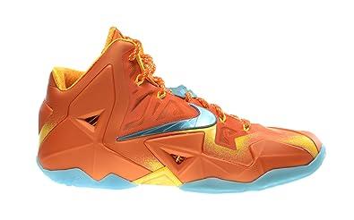 688f1030c0e233 Nike Lebron XI Preheat Forging Iron Men s Basketball Shoes Urban Orange Light  Armory Blue-