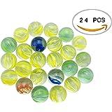 """HoneyToys Set of 24 Shooter Marbles 1"""" Mega Marbles in Bulk Glass Marbles"""