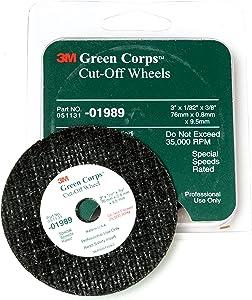 Green Corps 01989 Green Cut-Off Wheel (3 in x 1/32 in x 3/8 in)