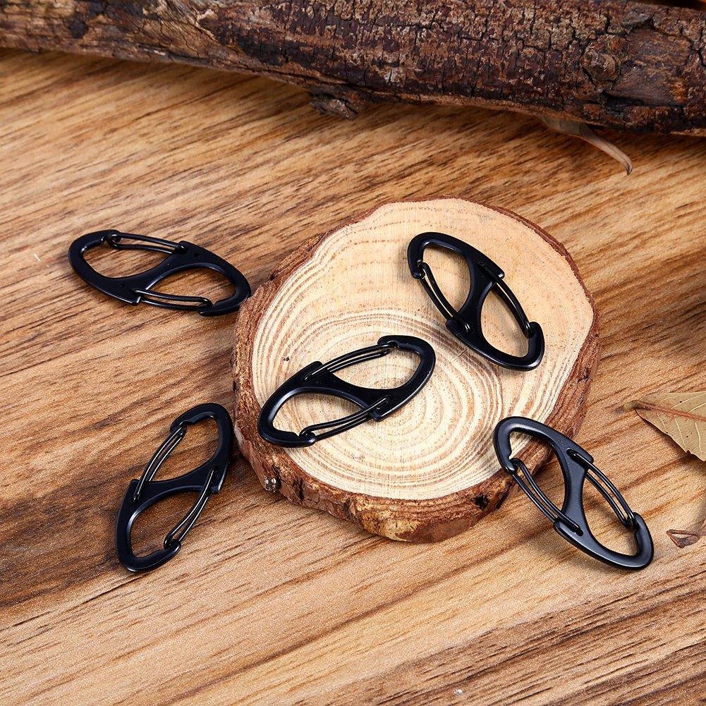 Juego de 5/Aluminio Mosquet/ón Clips S Forma cierre r/ápido gancho para viajes pesca camping senderismo Outdoor