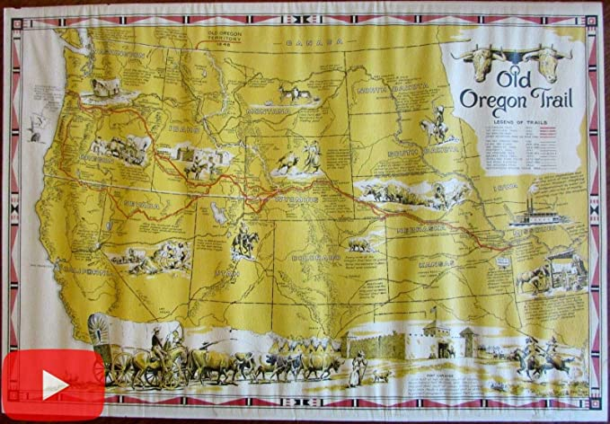 Gold In Oregon Map.Amazon Com Old Oregon Trail Map 1948 Cartoon Pictorial Shope