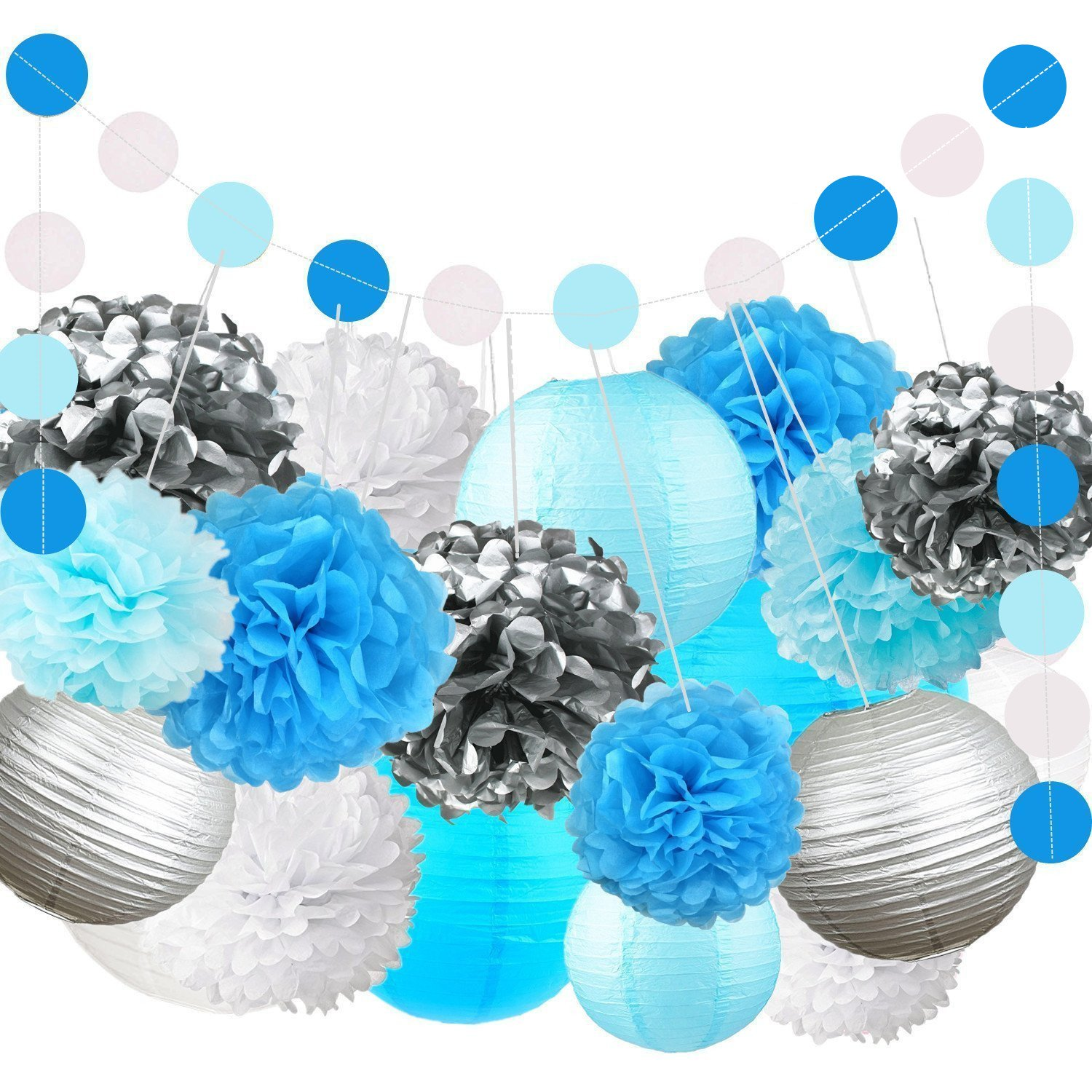 Fonder Mols White Blue Turquoise Silver Tissue Paper Flowers Pom Pom Party Lanterns Circle Dots Garlands (Pack of 22) for Navy Nautical Anchor Sea Ocean Bubble Themed Party Decorations by fondermols
