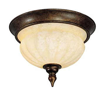 Livex Lighting 8447-50 Flush Mount with Vintage Carved Scavo Glass ...