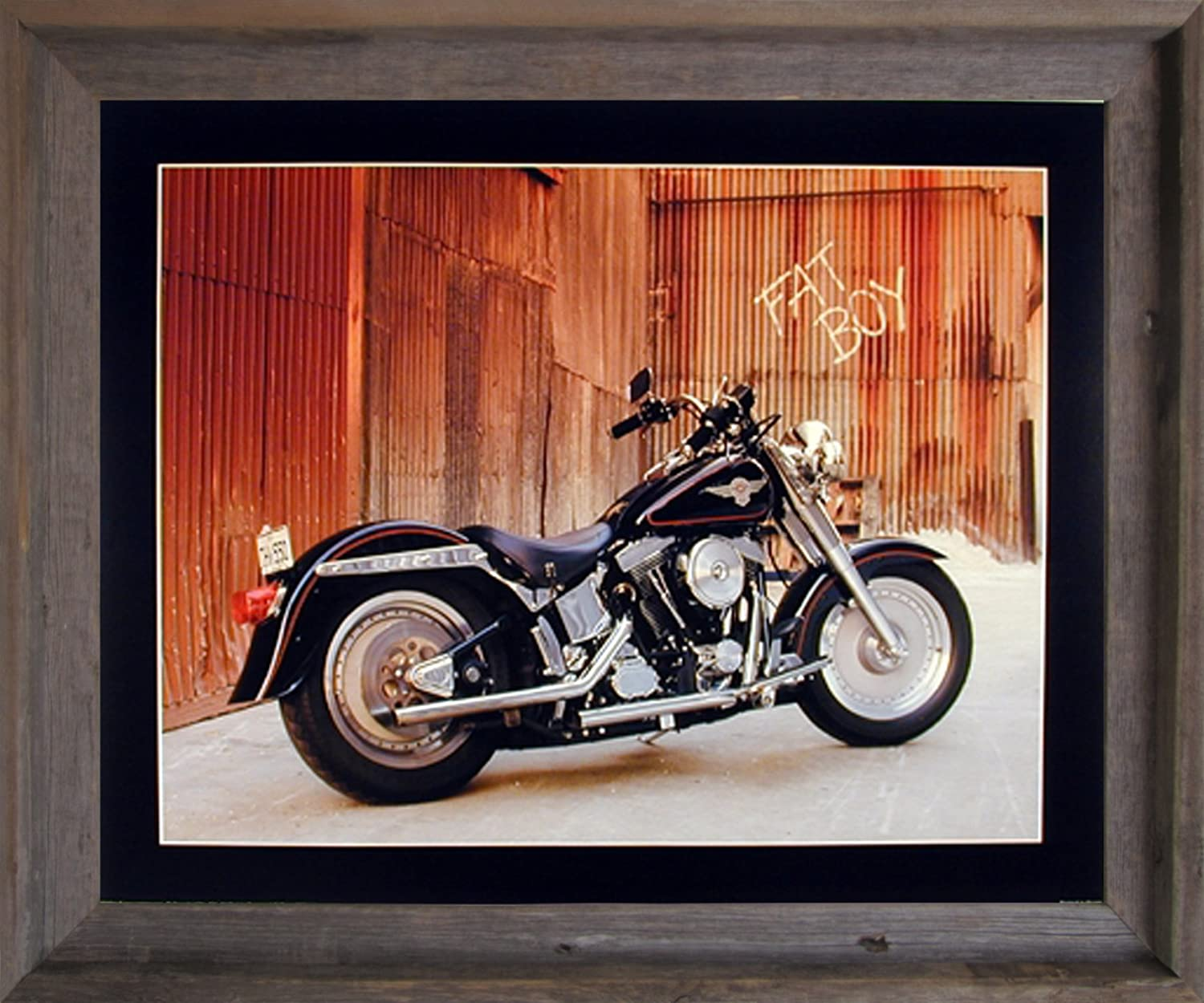 Amazon.com: Impact Posters Gallery Framed Wall Decoration Harley Davidson  Fat Boy Motorcycle Bike Barnwood Framed Picture Art Print (19x23): Posters  U0026 ...