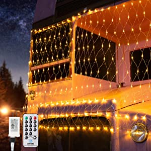BrizLabs Christmas Mesh Net Lights, 11.8ft x 4.9ft 360 LED Bush Net Lights Outdoor, 8 Modes Xmas String Lights, Connectable Plug in Trees-Wrape Lights for Fence Bushes Garden, Warm White, Green Wire