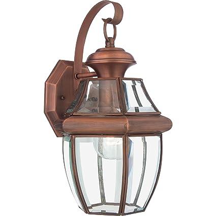 quoizel ny8316ac newbury 1 light outdoor lantern aged copper wall