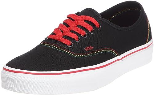 648dce220b Vans Authentic Trainers Unisex-Adult Black Schwarz ((Rasta) black red)