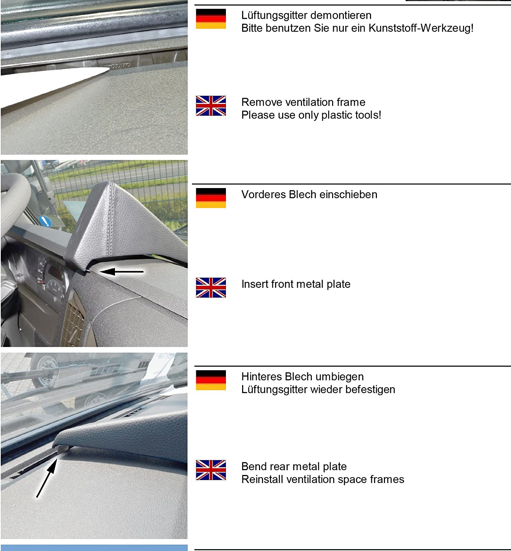 Noir cuir v/éritable pour Volvo Trucks FM//FX /à partir de 2013/ LHD KUDA Console de t/él/éphone