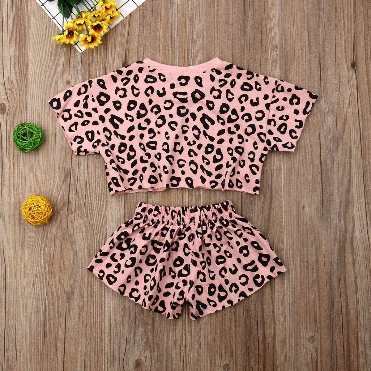 Baby Girls Boys Leopard Long Short Sleeve Sweatshirt T-Shirt Top /& Short Pants Newborn Jumpsuit Toddler Outfits Clothes Set
