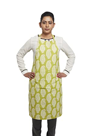 Amazon Brand - Solimo 100% Cotton Adjustable Kitchen Apron, Paisley (Green)