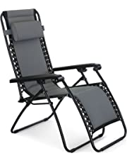 VonHaus Oxford 600D Padded Zero Gravity Chair - Outdoor Sun Lounger Recliner for Patio, Garden or Lawn