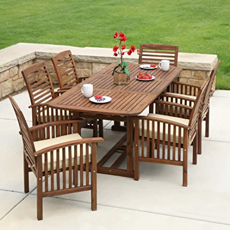 WE Furniture Solid Acacia Wood 7 Piece Patio Dining Set