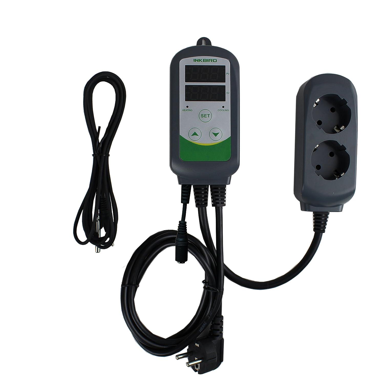 ITC308S + 1.97 Sensor Sonde 1,97 Sensor Sonde Inkbird ITC-308S Digitale Temperaturregler Thermostat Dual Steckerthermostat 12 Lange Edelstahl NTC-Sensor