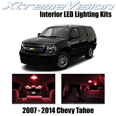 Xtremevision Interior LED for Chevy Tahoe 2007-2014 (12 Pieces) Red Interior LED Kit + Installation Tool: Automotive