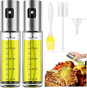 Olive Oil sprayer Mister for Cooking - Food-Grade Glass Oil Spray for Cooking, BBQ, Salad, Baking – Includes Oil Brush/Cleaning Brush/Funnel, 3.4-Ounce Capacity, 100ml – 2pack