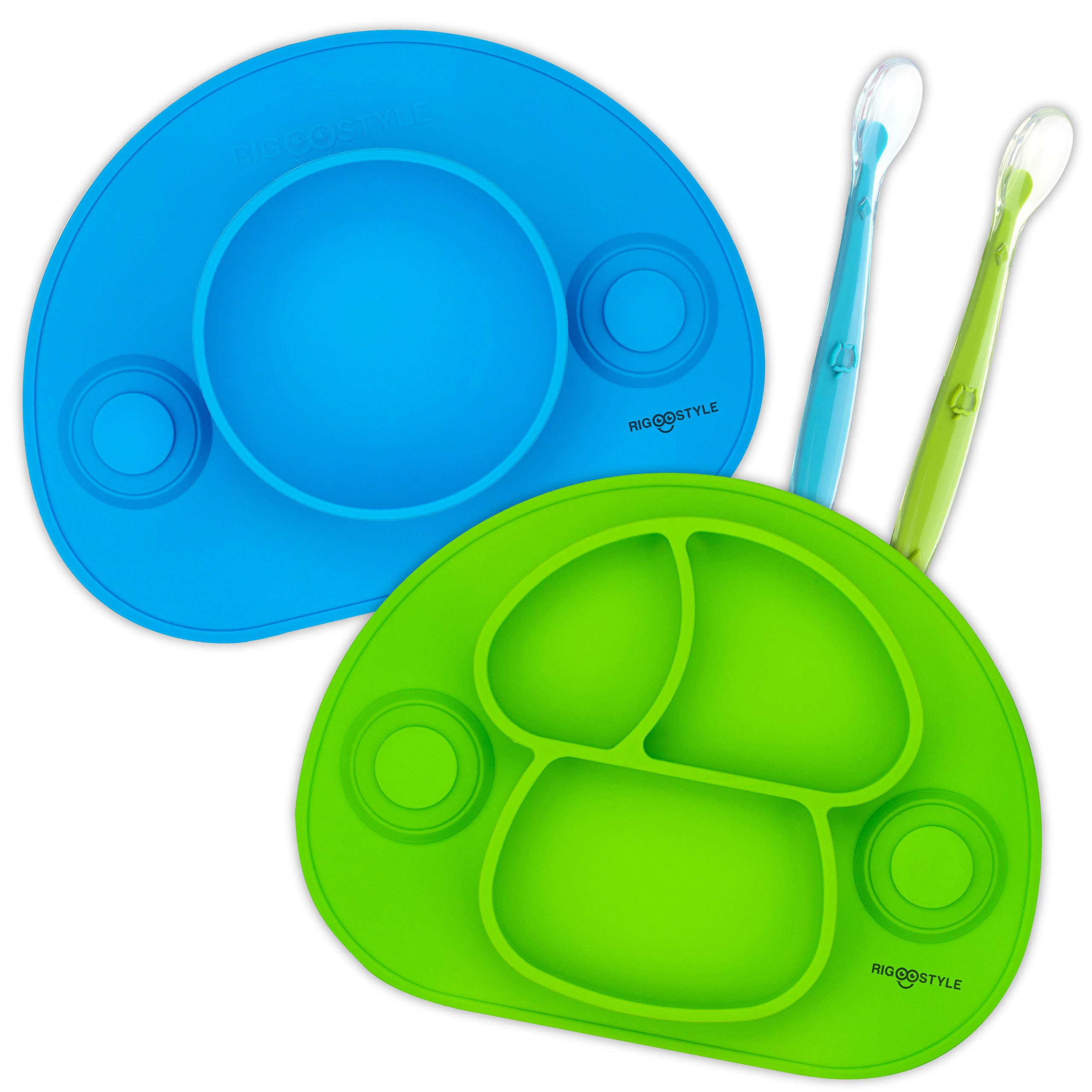 RIGSTYLE Silicone Feeding Set: Divided Plate and Bowl Placemats with Suction Cups Plus 2 Spoons, for Babies, Toddlers and Kids (Blue/Green) by RIGSTYLE