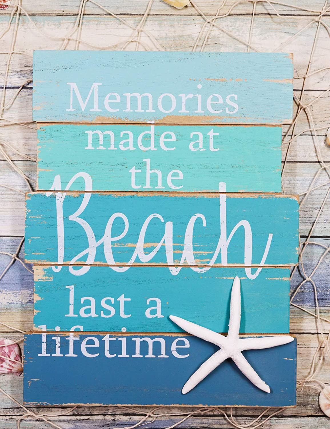 "Ebros Nautical Memories Made At The Beach Last A Lifetime Starfish Blue Wooden Wall Decor Sign Sea Star Decorative Plaque 15.5""Tall Coastal Sandy Bluff Lagoon Marine Nursery Kids Bedroom Kitchen Walls Door Signs"