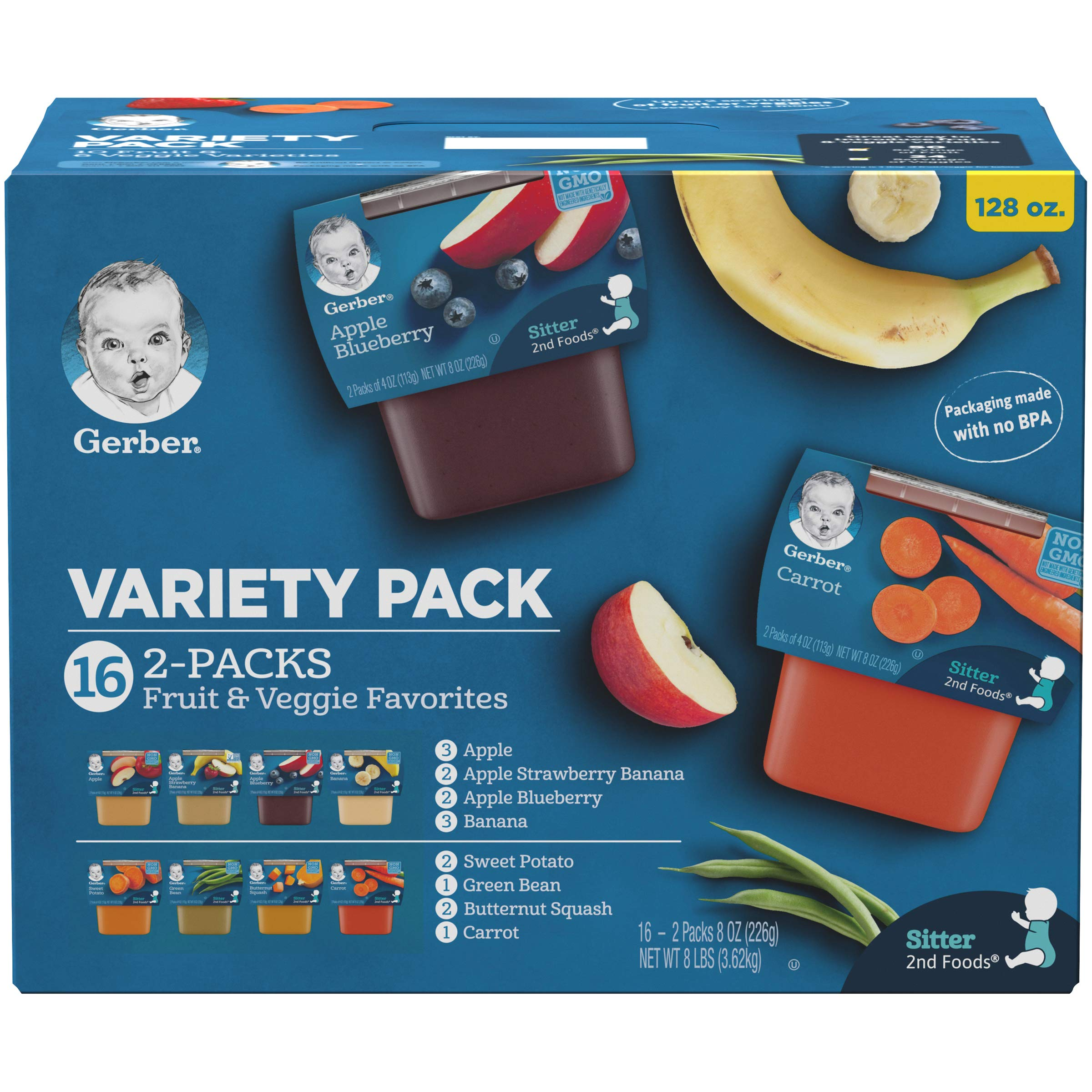 Gerber Purees 2nd Foods Veggie & Fruit Variety Pack, 8 Ounces, Box of 16 by Gerber Purees