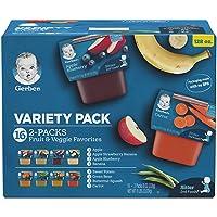 Gerber Purees 2nd Foods Veggie & Fruit Variety Pack, 8 Ounces, Box of 16 (packaging...